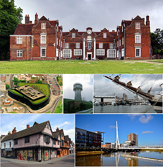 Ipswich - Top down: Christchurch Mansion, Willis Building, water tower, Ipswich Waterfront, Ipswich Town Centre, Sir Bobby Robson Bridge