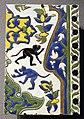 Iran, isfahan, mattonelle con animali, XVII sec., scimmie.JPG