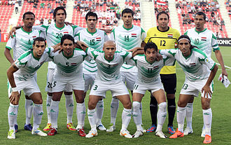 Iraq national football team - The Iraqi national team pose ahead of their 2014 FIFA World Cup qualifying match against Oman in Doha in 2012.