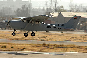 Kirkuk Air Base - An Iraqi Air Force Cessna 172 lands at Kirkuk Air Base.
