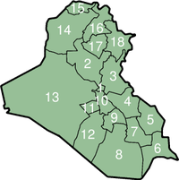Numbered map of Governorates of Iraq