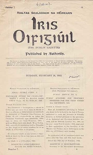 Iris Oifigiúil - Front cover of Iris Oifigiúil 21 February 1922