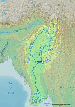 Course, watershed, cities and major tributaries of the Irrawaddy River