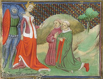 Edmund FitzAlan, 9th Earl of Arundel - Arundel and Hugh Despenser the Elder before Queen Isabella. From Froissart's Chronicles.