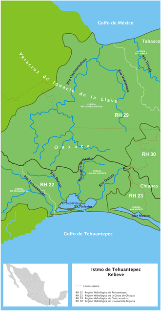 Coatzacoalcos River - Image: Istmo de Tehuantepec hidro