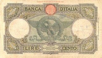 Italian East Africa - Italian East African 100 lira banknote.