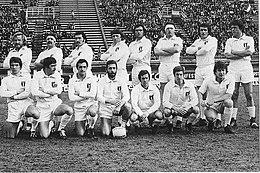 La formazione di rugby dell'Italia che affrontò la Francia a febbraio 1975 al Flaminio