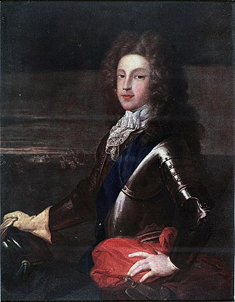 Coloured portrait of James as young man Jacobite broadside - Coloured portrait of Prince James as young man1.jpg