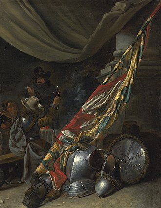 Jan Baptist Tijssens the Younger - Guardroom interior with armour and a standard behind