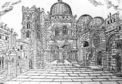 Esterno della basilica nel 1606 raffigurato da Jan Willenberg