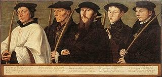 Portretten van vijf leden van de Utrechtse Jeruzalembroederschap