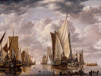Jan van de Cappelle - Shipping in a Calm at Flushing with a States General Yacht Firing a Salute, 1649