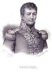 Une gravure en noir et blanc d'un homme portant un uniforme naval