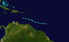 Track map of a short-lived and disorganized tropical storm through the Central Atlantic and eastern Caribbean Sea