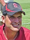 Jim Harbaugh at 2010 Stanford football open house 2.JPG