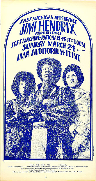 The Jimi Hendrix Experience - Poster for a concert at the IMA Auditorium, Flint, Michigan, 1968