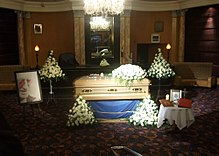 Jimmy Savile's Coffin on display in the Queen's Hotel, Leeds, 8th November 2011.jpg