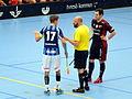 Johan Edlund (17 - DIF), a referee and Nick Ahlholm (10 - TTIBK).JPG