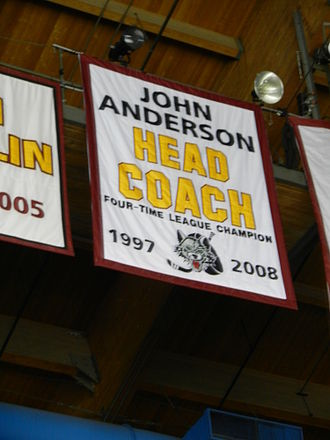 John Anderson (ice hockey) - Chicago Wolves banner honoring Anderson's coaching history with the franchise