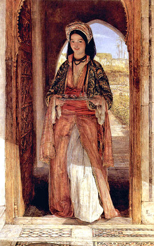 Arabic coffee - Arab women (coffee bearer) by John Frederick Lewis (1857). in Cairo, Egypt)