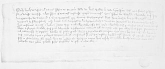 John Gallda MacDougall - Nineteenth-century facsimile of a charter of John Gallda to his father's sister, Mary, wife of John of Stirling. John Gallda granted the charter in 1338, whilst in the service of the English, during the occupation of Perth.
