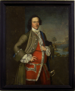 Portrait of standing Thomas Westbrook Waldron at three-quarter length