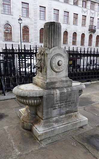 St Martin-in-the-Fields - The John Law Baker drinking fountain stands in the churchyard