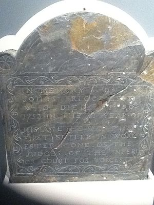 Jonas Rice - Gravestone of Jonas Rice, a founder of Worcester, Massachusetts and a Judge of Common Pleas in the permanent collection of the Worcester Historical Museum