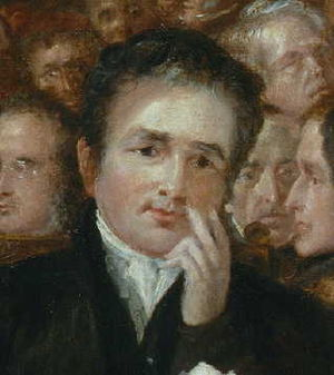 Joseph Sturge - Sturge in the painting The Anti-Slavery Society Convention, 1840 by Benjamin Robert Haydon. From left to right: Vice Admiral Constantine Richard Moorsom, Sturge, John Keep (American delegate), Joseph Eaton. Top left G.K.Prince and top right, James Dean (another American).