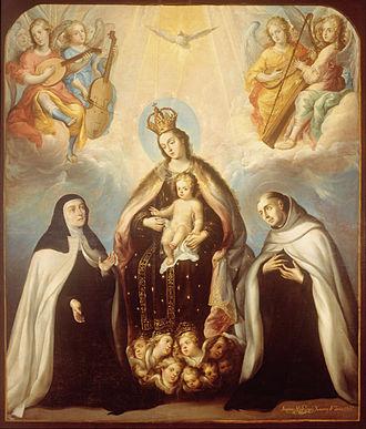 Juan Rodríguez Juárez - Image: Juan Rodríguez Juárez The Virgin of the Carmen with Saint Theresa and Saint John of the Cross Google Art Project