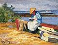 Julius Exter - Lesende Frau mit Booten am Chiemseeufer 1920-30.jpg