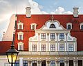 Köpf'sches Palais, Köpfhaus Augsburger - Gebäudeausschnitt - Baudenkmal mit Valutengiebel und Zwerchhaus.jpg