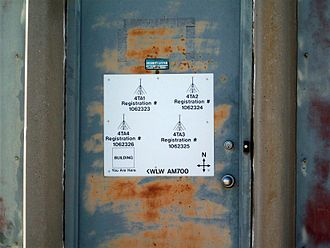 KALL - The door to the transmitter building clearly shows the station was once KWLW.