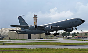 166th Air Refueling Squadron - KC-135R Stratotanker (s/n 61-0264), deployed from the 121st Air Refueling Wing, Ohio Air National Guard, takes off for an aerial refueling mission from Andersen Air Force Base, Guam, on 4 October 2007.