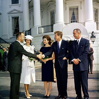 Alan Shepard - Shepard and his wife Louise meet First Lady Jacqueline Kennedy, President John F. Kennedy and Vice President Lyndon B. Johnson at the South Portico of the White House