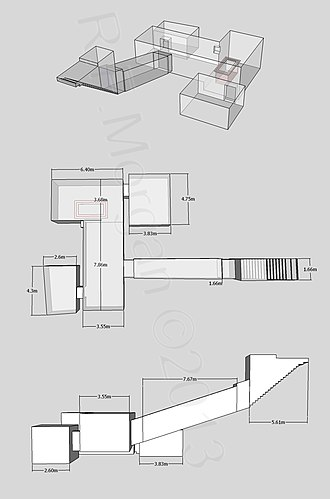 KV62 - Axonometric, plan and elevation images of KV62 taken from a 3D model