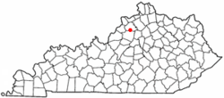Location of Pleasureville, Kentucky