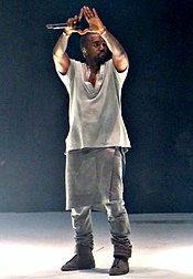 Kanye West performing in 2013