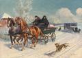 Karl Hansen Reistrup - Vinterparti med en hestevogn - 1928.png