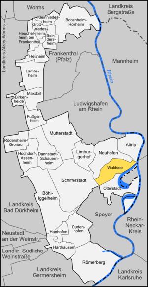 Waldsee, Palatinate - Image: Karte Waldsee
