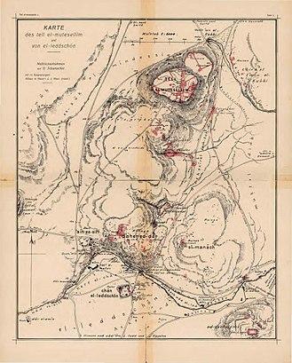Lajjun - Image: Karte des tell el mutsellim und von el leddschōn