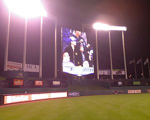 2008 Kansas City Royals season - The new high-definition video board at Kauffman Stadium, installed in 2008. The stadium was under renovation while the season was still in progress.