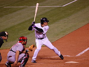 Kazuo Matsui - Kazuo Matsui batting for the Colorado Rockies against the Cincinnati Reds in 2007