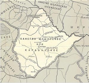 Karabakh Khanate - Map of Karabakh Khanate according to a 1902 Russian map.