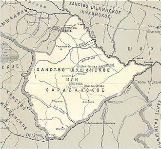 Karabakh Khanate - Map of Karabakh Khanate according to a 1902 Russian map.
