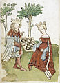 King and queen playing chess - Das Schachzabelbuch (15th C), f.5v - BL Add MS 11616.jpg