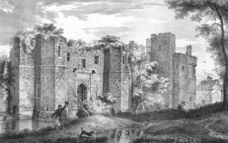 Kirby Muxloe Castle - The ruins of the castle, depicted in 1826
