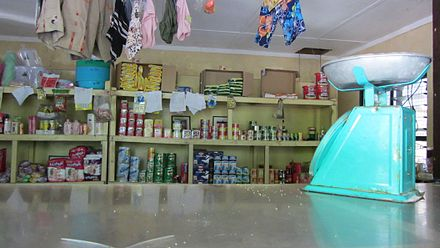 Goods in a shop on the outer islands. Kiribati Abaiang Store.jpg