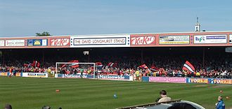Bootham Crescent - David Longhurst Stand (2007 picture) opened in 1990, after a stand was built on the Shipton Street End.