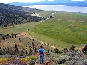 Klamath County, Oregon - A panoramic view of Klamath County, Oregon, with Klamath Lake in the background